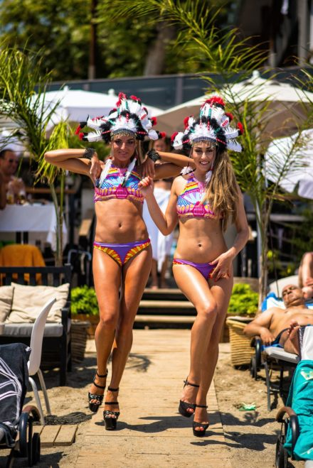 dancers champagnelunch event beachclub beach girls swimsuit costume