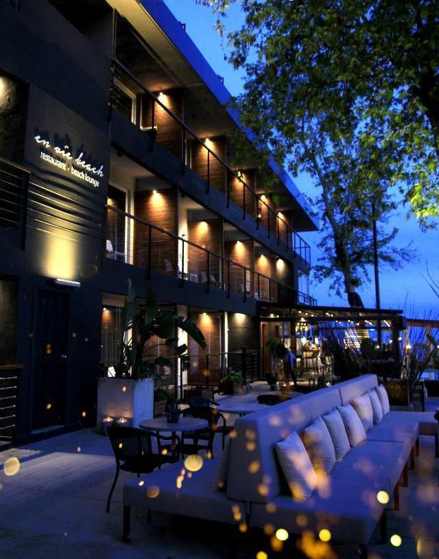 enviebeach boutique hotel beachhotel evening tree lights restaurant wine and dine