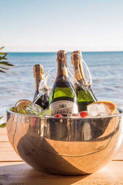 champagne cooler ice champagneglass beach beachclub enviebeach beach sea restaurant alanya