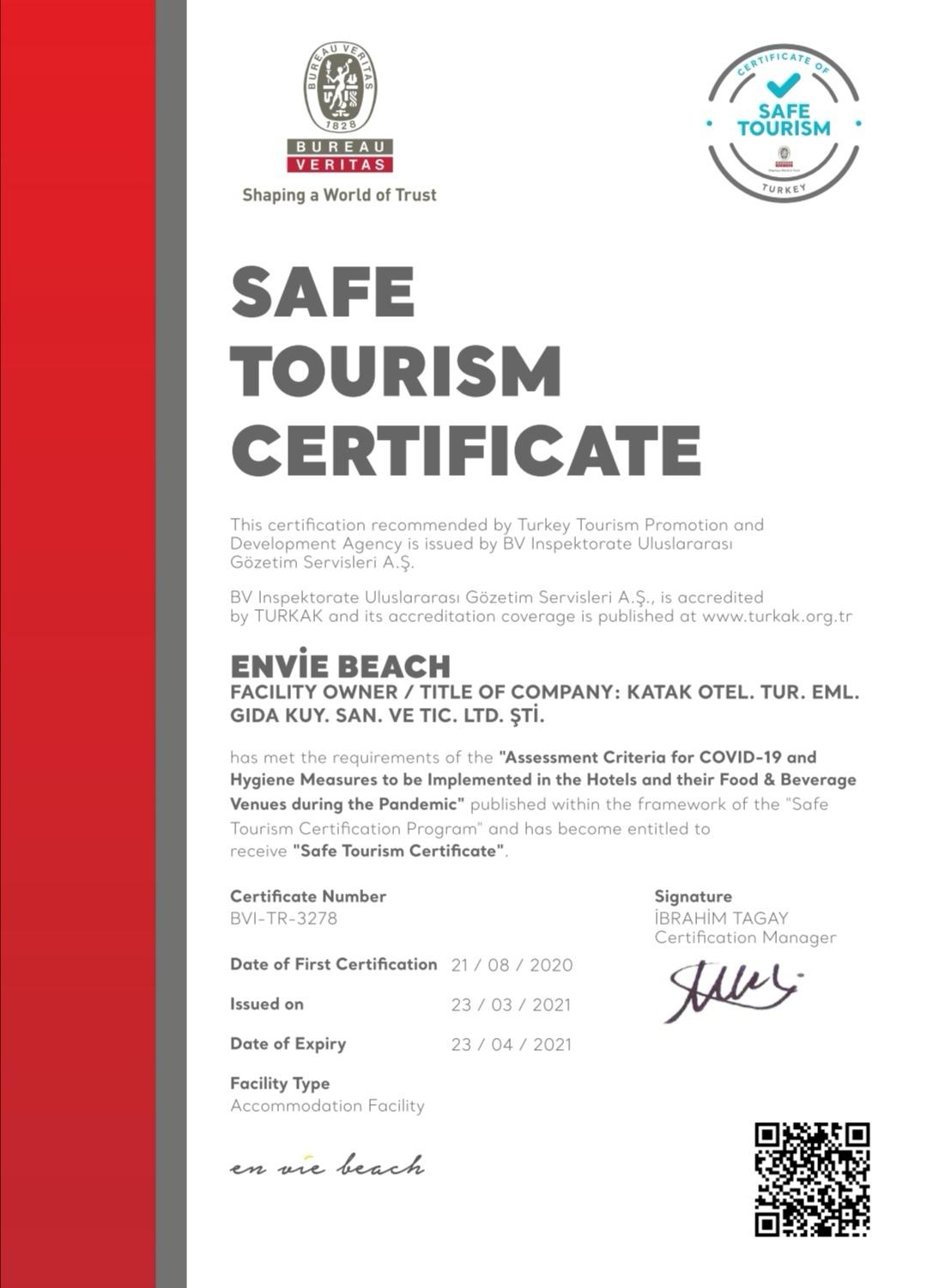 Safe tourism certificate covid-19 hygenic restaurant hotel alanya turkey